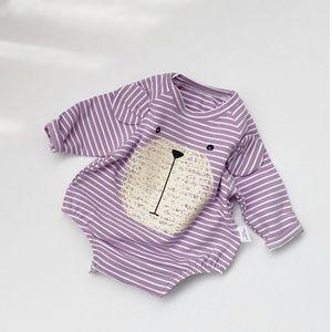 Baby Striped Bear Print Long Sleeve Romper Purple